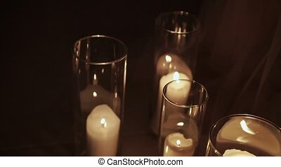 Candles in glasses decoration at night