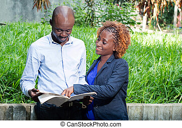 Young couple in search of employment . - These young people...