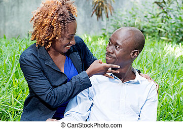 Meeting and friendship. - This couple cheerful sympathize in...