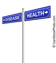 Health Disease Direction Sign - HEALTH and DISEASE, written...