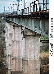 Old stone railway bridge. Industrial architecture