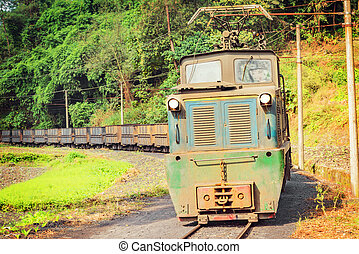 Electric narrow-gauge locomotive. - Electric narrow-gauge...