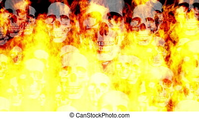 Skulls grunge and flames looping animated horror background...