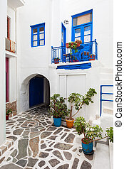 Naxos old town, Greece - House exterior in Naxos Kastro old...