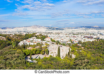 Athens aerial panoramic view from the Athenian Acropolis in...