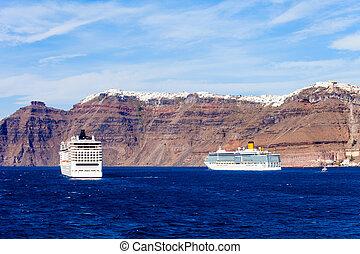 Cruise ship, Santorini island - Cruise ship liner near the...