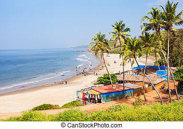 Beach in Goa, India - Vagator or Ozran beach aerial...