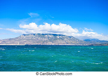 Gulf of Corinth and Loutraki city on background, view from...
