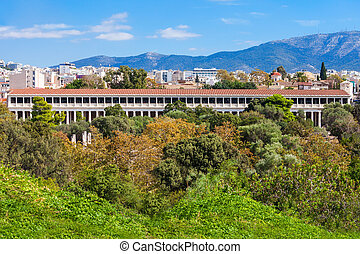 Ancient Agora in Athens - The Stoa of Attalos or Attalus was...