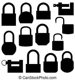 Set of black icons lock, vector illustration.