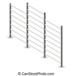 Steel Swedish wall in 3D, vector illustration. - Steel...