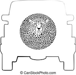 Wheel Cover - Cheetah - Vector label on a spare wheel cover...