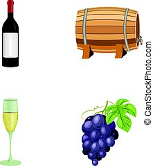 A bottle of red wine, a wine barrel, a glass of champagne, a bunch. Wine production set collection icons in cartoon style vector symbol stock illustration web.