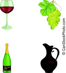 A glass of red wine, champagne, a jug of wine, a bunch. Wine production set collection icons in cartoon style vector symbol stock illustration web.