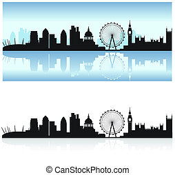 london skyline and reflection