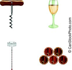 Corkscrew, alcohol counter, barrels in the vault, a glass of white wine. Wine production set collection icons in cartoon style vector symbol stock illustration web.