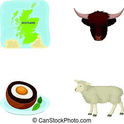Territory on the map, bull s head, cow, eggs. Scotland country set collection icons in cartoon style vector symbol stock illustration web.