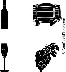 A bottle of red wine, a wine barrel, a glass of champagne, a bunch. Wine production set collection icons in black style vector symbol stock illustration web.