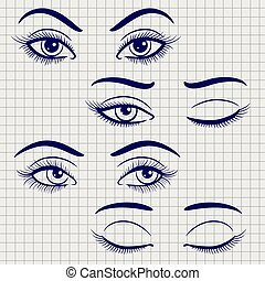 Pen female open and closed eyes - Ballpoint pen hand drawn...