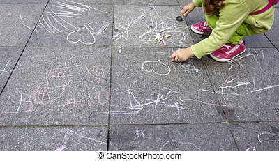 children painting drawing school education - little children...