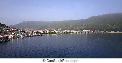 unesco listed town ohrid and lake ohrid - aerial view of...