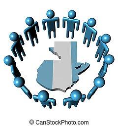Circle of people and Guatemala map flag - Circle of abstract...