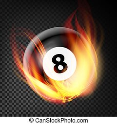 Billiard Ball In Fire Vector Realistic. Burning Billiard Ball. Transparent Background