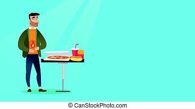 Man suffering from heartburn vector illustration