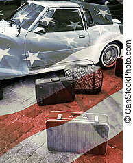 Retro car and suitcases, american vintage styled background