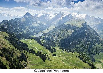 Panorama view of Alpstein mountain with lake of Ebenalp....