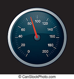 speedo on black - illustration of a black speedometer on...