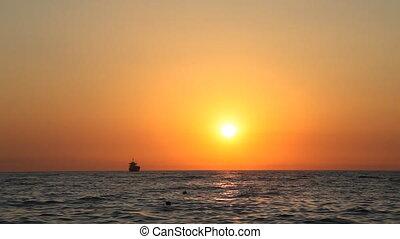 Sandy Beach sea ocean wave sunset horizon