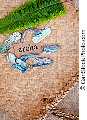 NZ - Kiwi - Maori theme - backgrounds and objects - maori word for love and respect (aroha)
