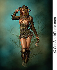 Arc and Arrow, 3d CG - 3D computer graphics of a female...
