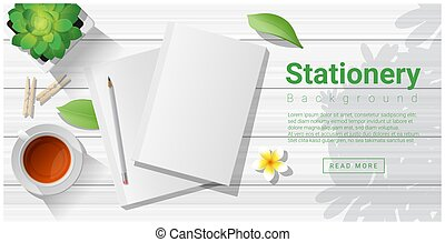 Summer scene with blank notebooks on wooden table background 1