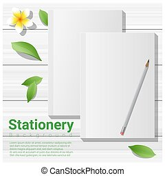 Summer scene with blank notebooks on wooden table background 4