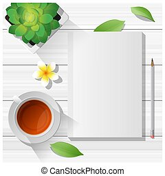 Summer scene with blank notebook on wooden table background 3