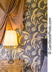 Lamp, nightstand and ethnic pattern wallpaper - Small lamp...