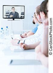 conferencia, compañía,  vídeo