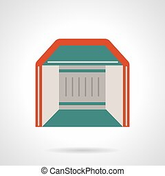 Mobile pavilion flat color vector icon - Abstract symbol of...