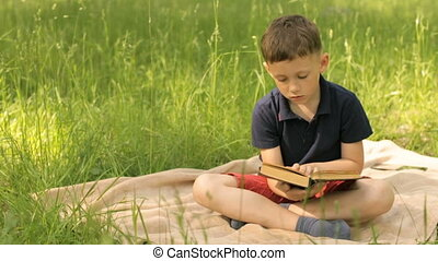 A boy is reading a book in a park on a meadow