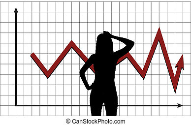 Man pondering the behavior of market - Silhouette of a woman...
