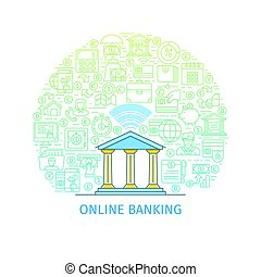 Online banking concept. Design template with flat line icons...
