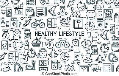Healthy lifestyle thin line banner