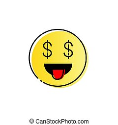 Yellow Smiling Cartoon Face People Emotion Show Tongue Icon...
