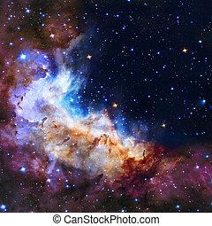 云霧, 插圖, 空間, 星云, 星, 背景, 宇宙, 星系