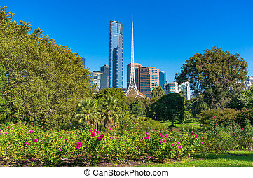 Melbourne Southbank cityscape with National Gallery of...