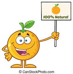 Happy Orange Fruit Cartoon Mascot Character Holding A Sign...