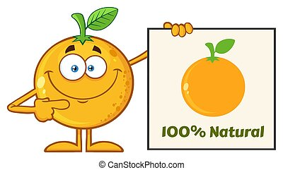 Smiling Orange Fruit Cartoon Mascot Character Pointing To A...