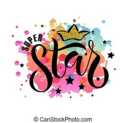 Vector illustration of Super Star text for boys/girls...